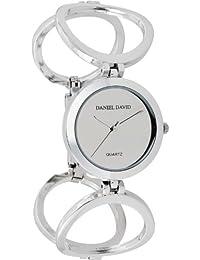 Women's Elegant Silver-tone Circle Linked Self-Adjustable Links Watch