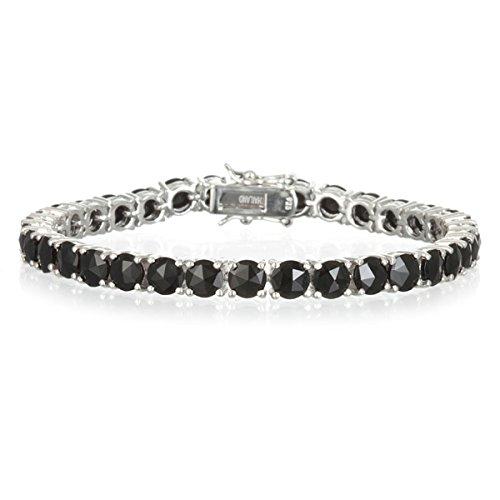 "Rhodium Plate Silver Tennis Line Bracelet with Rose Cut Onyx-7.2"""