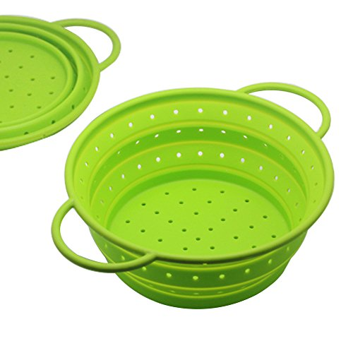 Quart Kitchen Strainer (Premium Silicone Collapsible Colander/Food Strainer/Fruit Vegetable Basket for Kitchen/Outdoor/Travel/Camping,8.5