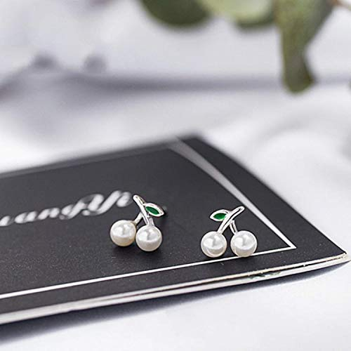 925 Sterling Silver Shell Beads Cherry Stud Earrings for Women | Simple Fashion Party Jewelry