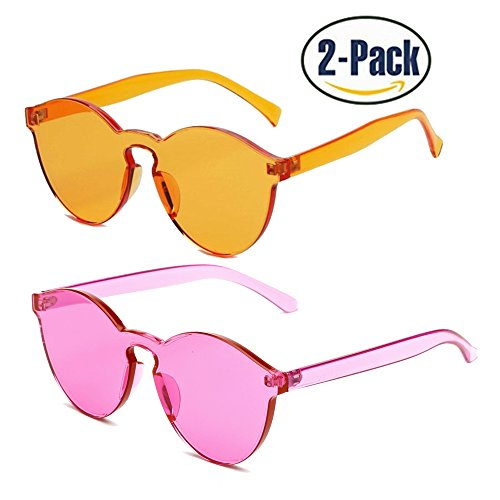 Samto One Piece Sunglasses, 1 or 2 Pack pc lens rimless colorful womens - Sunglasses Piece One Lens