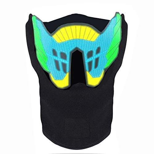 FEIYOLD LED Halloween Mask, Sound Activated Light Up Mask, Music Party Mask Cosplay Mask for DJ& Festival Party