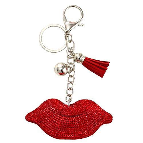 Bear Enamel Key Ring - Cute Lips Crystal Key Chains Rings For Women Silver Gold Purse Bag Car Buckle Pendant For Car Keyrings Keychains Girls FT128A