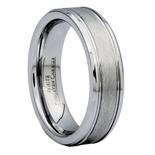 Customizable Using Laser Engraving 6mm Center Brushed White Tungsten Carbide Wedding Band Ring Size 9