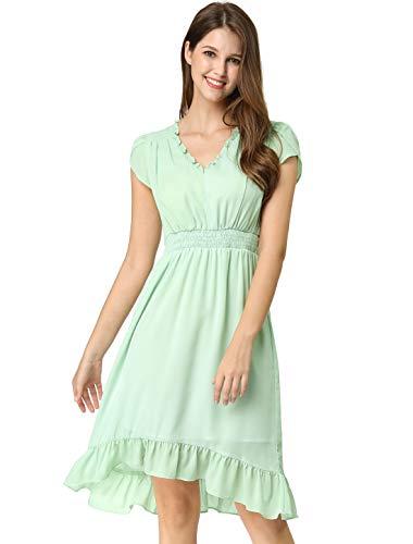 Allegra K Women's V Neck Petal Short Sleeves Pleated Waist Elegant Chiffon A-Line Midi Dress XS -