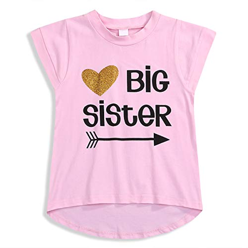 Baby Girl Clothes Shirt Big Sister Letter and Heart Print T-Shirt Top Blouse Toddler Girls sis Floral Tshirt (Pink, 3-4 Years)