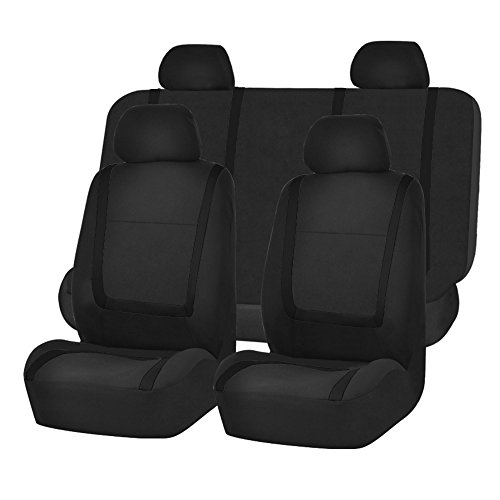 FH Group FB032BLACK114 Black Unique Flat Cloth Car Seat Cover with 4 Detachable Headrests and Solid Bench ()