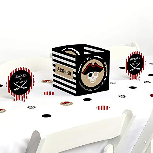 Beware of Pirates - Pirate Birthday Party Centerpiece & Table Decoration Kit -