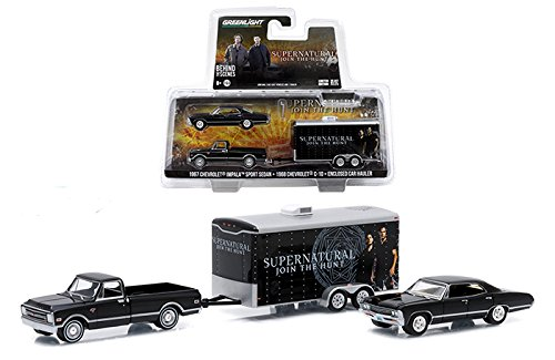 Greenlight 1:64 Supernatural 1967 Chevrolet Impala Sport Sedan 1968 Chevrolet C10 Enclosed Car Hauler: Join The Hunt Trailer - Car Trailer Hauler Enclosed