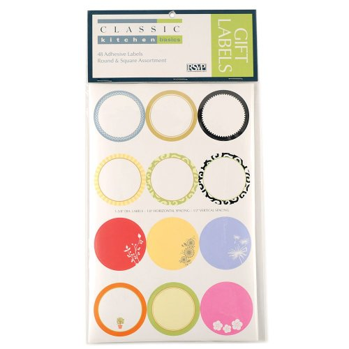 Round and Square Decorative Gift Label 48 Piece Assortment Set ()