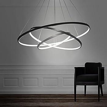 Unitary Brand Modern Black Acrylic Warm White LED 3 Rings Pendant light with Max 90W Painted & LightInTheBox Acrylic Chandelier Modern 80cm Cut LED Ring Pendant ...