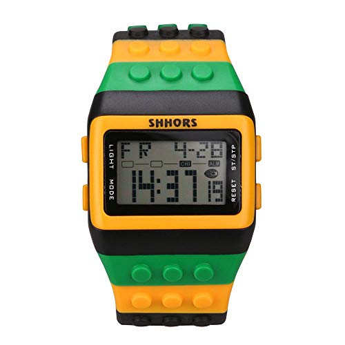 WUAI Unisex Colorful Electronic Watch Digital LED Backlight Alarm Sport Wrist Watches ()