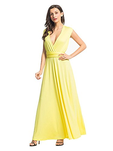CHOiES record your inspired fashion Choies Women's Infinity Gown Dress Yellow Multi-Way Strap Wrap Convertible Maxi Dress S (Long Twist Strap Dress)