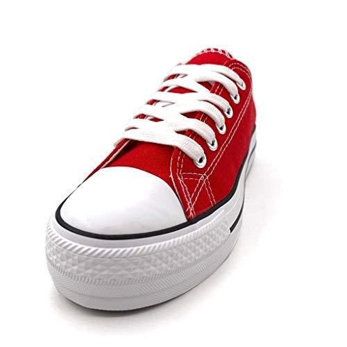 5 Tennis Comfortable Donna Sneaker 17 Rosso Cm Basic 40 Piatto Bo Moda 3 Angkorly T Tacco Scarpe qSHvw1