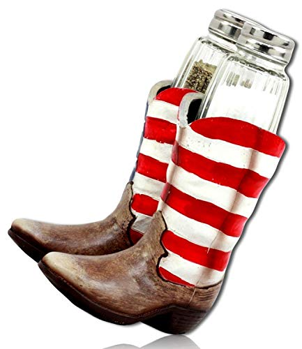mySimpleProduct.Shop Stars Stripes USA American Spangled Banner Flag Patriotic Cowboy Western Boots Salt Pepper Seasoning Shaker Holder Statue Figurine Sculpture + Certificate
