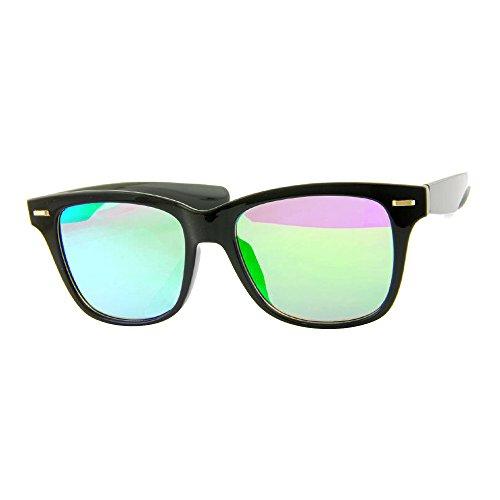 ROXX- Black with Green Mirrored Lens Classic Wayfarer Style With A Modern - Sunglasses Stunna
