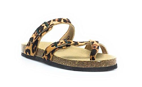3f9fff784 Outwoods Women s Bork-30 Vegan Leather Adjustable Strap Toe-Loop Buckle  Flats Sandals
