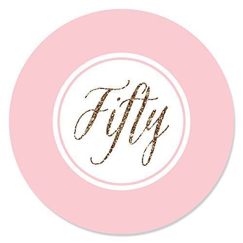 Big Dot of Happiness Chic 50th Birthday - Pink and Gold - Birthday Party Circle Sticker Labels - 24 Count (50th Birthday Stickers)