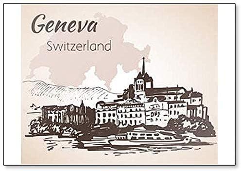 Aimant de r/éfrig/érateur classique dessin/é /à la main Illustration du paysage urbain Gen/ève en Suisse