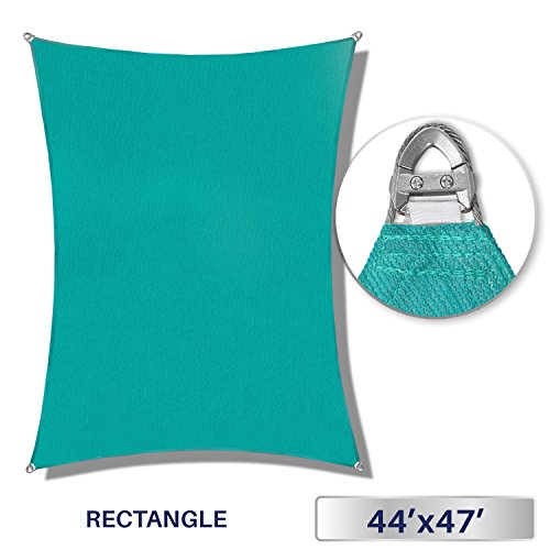 44' Rectangle Green (Windscreen4less A-Ring Reinforcement Large Sun Shade Sail 44' x 47' Rectangle Super Heavy Duty Strengthen Durable(260GSM)-Galvanized Cable Enhanced-Turquoise Green / 7 Year Warranty)