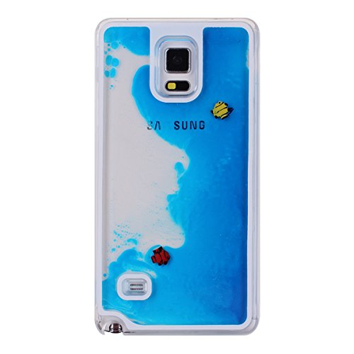 IKASEFU Case for Samsung Galaxy Note 4, Cover for Galaxy Note 4, Liquid Case for Samsung Note 4, Hard Case for Samsung Galaxy Note 4, Creative Design Funny Transparent Swimming Couple Fish Hard Plastic Transparent Case Cover for Samsung Galaxy Note 4(Fish, Blue)