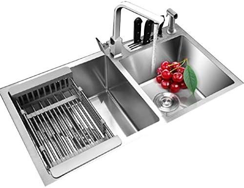 流し台シンク 304ステンレス鋼の肥厚した手動ダブルスロット キッチン一体型洗面台 プール家庭用パッケージ大容量食器洗い機 (Color : Gray, Size : 81*43cm)