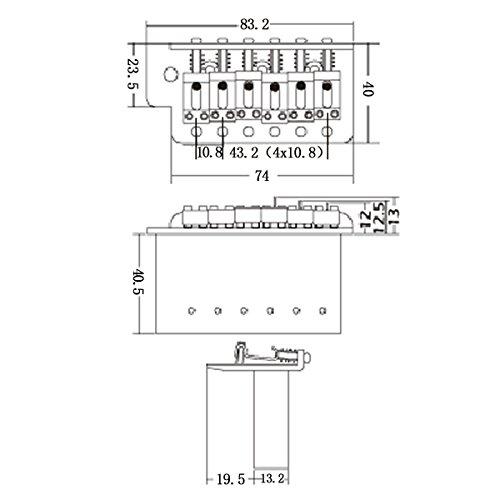 KAISH Gold ST Strat Trem Tremolo Bridge Locking System Full Size Block  Vintage Bent Saddles