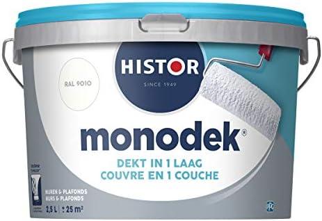 Histor MonodekMuurverfMat RAL 9010Dekt in 1 LaagAfwasbaar25 Liter