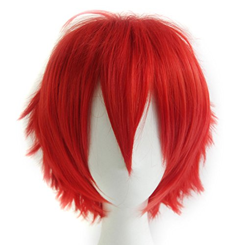 Alacos Synthetic Short Straight Red Fluffy Full Head Wig Men Women Spiky Hair Anime Cosplay Costume Party Wig -