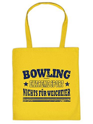 Hammer geile Baumwolltasche mit Aufdruck - Bowling Extreme Sport Nichts für Weicheier - coole Hipster Tasche für Sportler Tragetasche Einkaufstasche H1Bxd