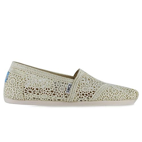 TOMS Women's 10007858 Natural Moroccan Crochet Alpargata Flat, 7 M US (Crochet Womens Shoes Toms)