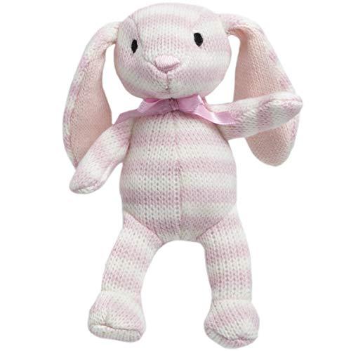 "(FAO Schwarz 4"" Textured Stripe Floppy Bunny Plush in White & Pink with)"