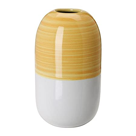Ikea Knaprig Vase White Yellow 14 Cm Amazon Kitchen Home