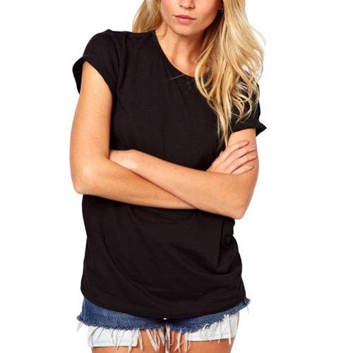 MAKIYO Women's Summer T-Shirt O-Neck Lazer Cut Angel Wings Short Sleeve Casual Tops(XL Black)