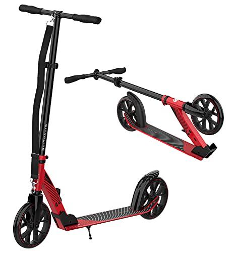 CITYGLIDE C200 Scooter para adultos, patinetes para adolescentes de 12 años en adelante, plegable, ligero, ajustable, patinetes para niños de 8 años en adelante con correa de transporte y soporte (rojo)