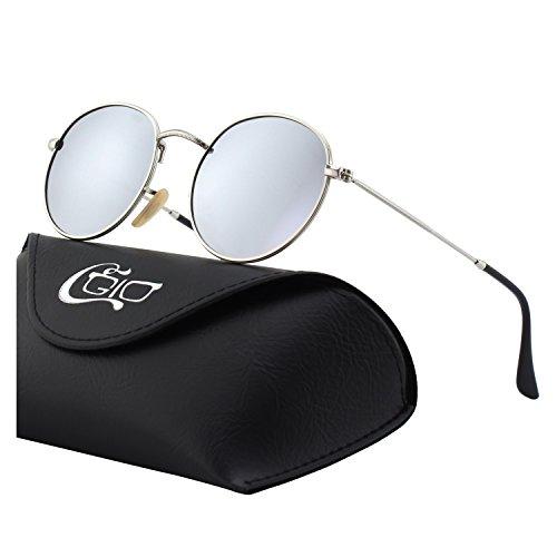 círculo mujeres gafas Retro hombres polarizadas para E01 50mm inspirado Lennon metálico Vintage Plateado B CGID sol redondo Estilo Plateado y de aqYwztA