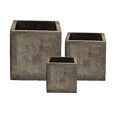 Happy Planter Cubes Natural Cement Fiber Planter Set, Cement Grey, Set of 3
