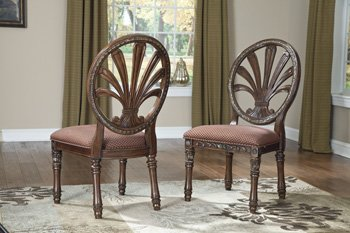 Ashley Furniture Signature Design - Ledelle Dining Side Chair - Traditional Style - Round Back - Set of 2 - Brown