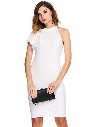 Meaneor Women's Sleeveless One Shoulder Asymmetric Ruffle Bodycon Sexy Dress (Sexy Womens Fancy Dress)