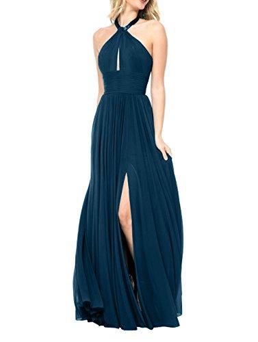 La_mia Brau SexyLanges Chiffon Abendkleider Ballkleider Partykleider Festlichkleider Sommer Damen A-linie Rock Tinte Blau tCGRm