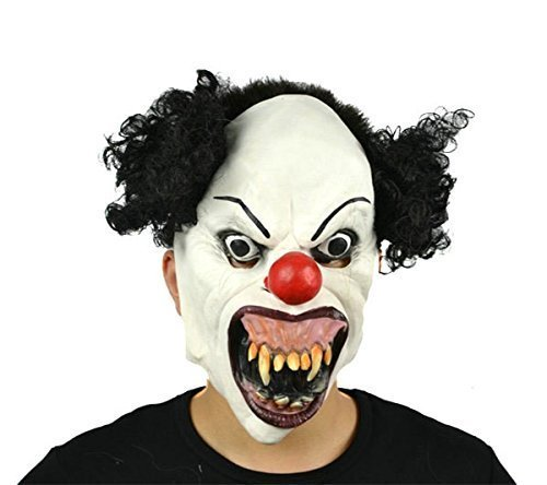 Hyaline&Dora Halloween Latex Clown Mask With Hair for Adults,Halloween Costume Party Props Masks -