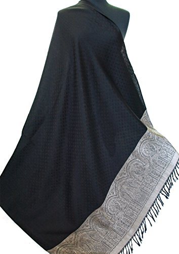 Large Silk Wool Jamavar Shawl Black-on-Black & Gold Reversible Paisley Pashmina