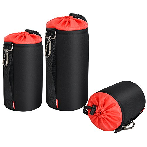 3 Pack Lens Case Lens Pouch Bag with Thick Protective Neoprene Soft Plush for DSLR Camera Lens Compatible for Canon Nikon Sony Pentax Olympus Panasonic(S,M,L)