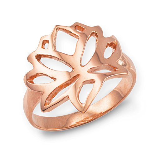 Fine 14k Rose Gold Cutout Blossom Band Lotus Flower Ring (Size 7.75)