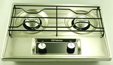 Rv Lp Propane Tank Drop In Cooktop Gas Range Amazon Com >> Amazon Com Suburban 2 Burner Drop In Cooktop Propane Home Kitchen