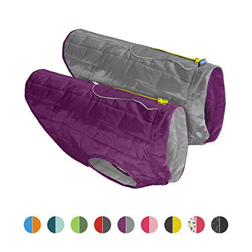 Kurgo Dog Jacket | Reversible Winter Coat for Dogs | Fleece Vest for Pets | Reflective | Wear with Harness | Water Resistant Loft Jacket | For Small Medium Large Pets (Purple/Grey, Large)