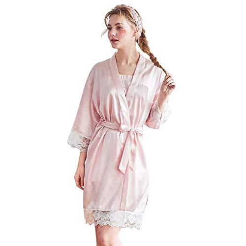 RAINED-Women's Kimono Robes Satin Pure Colour Short Style with Oblique V-Neck Robe Lace Trim Bathrobes Sleepwear ()