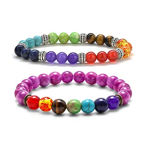 Birthday Gifts for Women Mens Bracelets - 8mm Natural Lava Rock Stone Chakra Bead Bracelets for Women Men, Stress Relief Aromatherapy Essential Oil Diffuser Bracelets Birthday Gifts for Women Men -