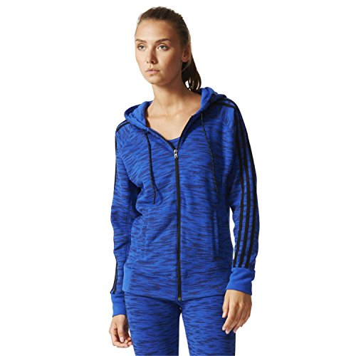 adidas Performance Women's 3 Stripe Full Zip Hoody - Blue - X-Small (Stripes Zip 3 Full)