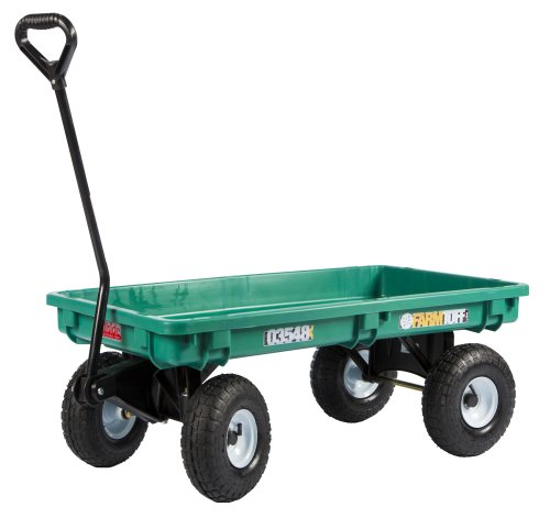 Farm Tuff 03548 Plastic Deck Wagon, 20-Inch by 38-Inch, Green